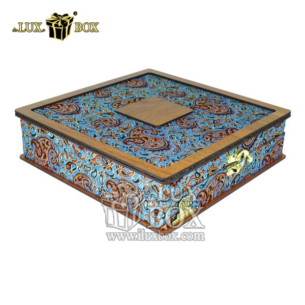 باکس چوبی آجیل ،جعبه آجیل و خشکبار،جعبه پذیرایی آجیل و خشکبار ،بسته بندی سنتی آجیل،جعبه پذیرایی آجیل و خشکبار لوکس باکس ، جعبه آجیل خشکبار پذیرایی ترمه چوبی لوکس باکس کد LB 014