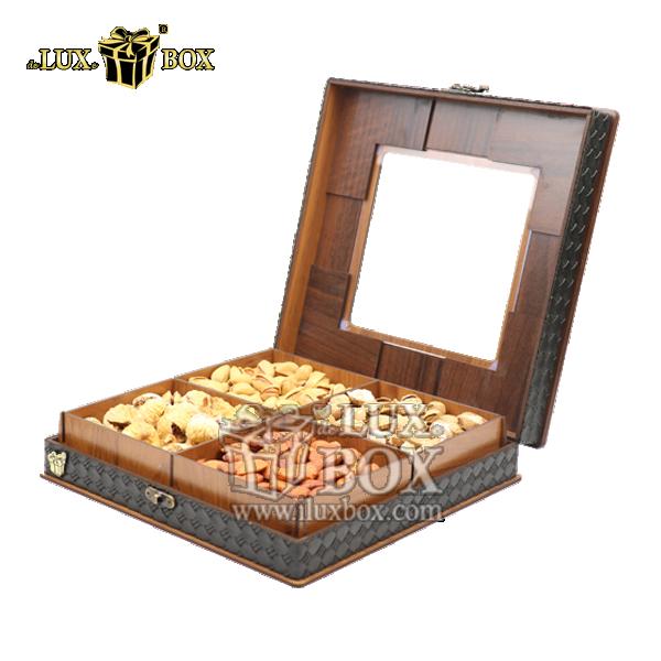 جعبه آجیل و خشکبار ،جعبه پذیرایی،بسته بندی آجیل و خشکبار ،جعبه پذیرایی لوکس ،جعبه چوبی آجیل،جعبه پذیرایی آجیل و خشکبار  لوکس باکس ، جعبه آجیل خشکبار پذیرایی چوبی لوکس باکس کد LB 043