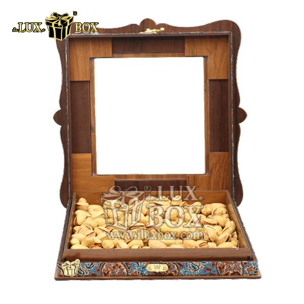 جعبه پذیرایی آجیل و خشکبار،جعبه چوبی آجیل،باکس لوکس آجیل،جعبه کادویی آجیل،بسته بندی لوکس آجیل،بسته بندی آجیل ،جعبه پذیرایی آجیل و خشکبار لوکس باکس ، جعبه آجیل خشکبار پذیرایی  ترمه چوبی لوکس باکس کد LB