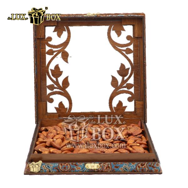 باکس چوبی آجیل ،جعبه آجیل و خشکبار ،بسته بندی آجیل ،جعبه چوبی آجیل و خشکبار،جعبه پذیرایی آجیل و خشکبار لوکس باکس  ، جعبه آجیل خشکبار پذیرایی ترمه چوبی لوکس باکس کد LBL 054