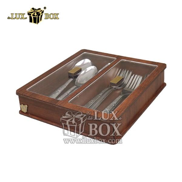 جای قاشق چنگال چوبی ، باکس چوبی قاشق چنگال چوبی ، جعبه چوبی پذیرایی قاشق چنگال،جای قاشق و چنگال چوبی لوکس باکس با کد LB 024 _ 1