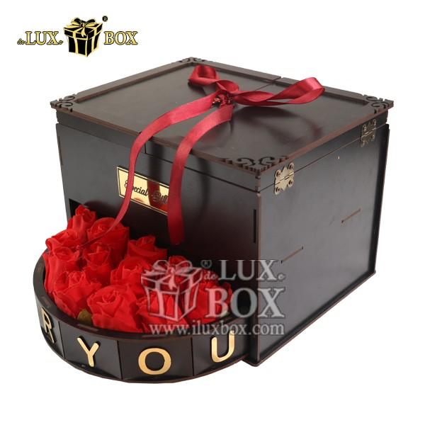 جعبه هدیه لوکس باکس , جعبه شیک کادویی , جعبه هدیه چوبی لوکس باکس، جعبه گل هدیه  ولنتاین کادو چوبی لوکس باکس کد LB 280