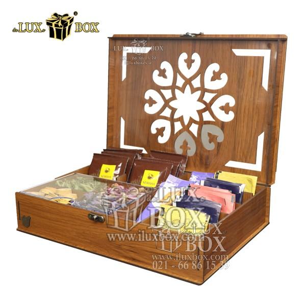 بسته بندی چوبی دمنوش ، جعبه پذیرایی و دمنوش لوکس باکس، جعبه ، جعبه چوبی ، جعبه کادویی دمنوش ، جعبه دمنوش پذیرایی چای کیسه ای تی بگ چوبی لوکس باکس کد LB 011