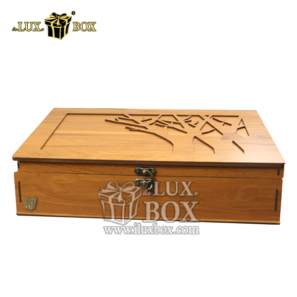 جعبه کادویی دمنوش، بسته بندی چوبی دمنوش ، جعبه پذیرایی و دمنوش لوکس باکس ،جعبه دمنوش پذیرایی چای کیسه ای تی بگ چوبی لوکس باکس کد LB 10