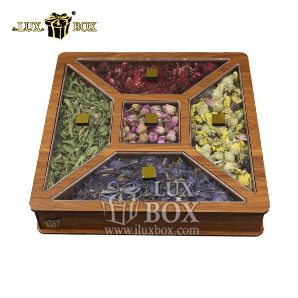 جعبه پذیرایی و دمنوش لوکس باکس ، جعبه دمنوش پذیرایی چای کیسه ای تی بگ لوکس باکس کد LB 26 _ 0