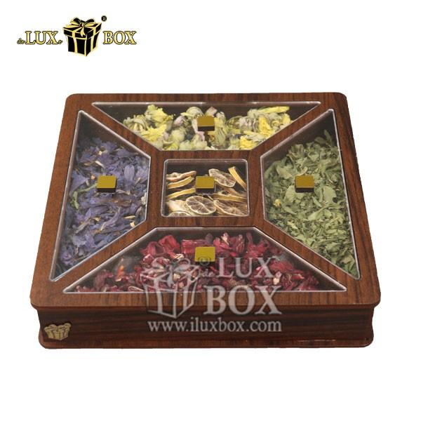 باکس لوکس دمنوش , جعبه کادویی دمنوش , بسته بندی چوبی دمنوش , جعبه پذیرایی و دمنوش لوکس باکس ،جعبه دمنوش پذیرایی چای کیسه ای لوکس باکس کد LB 26 _ 1