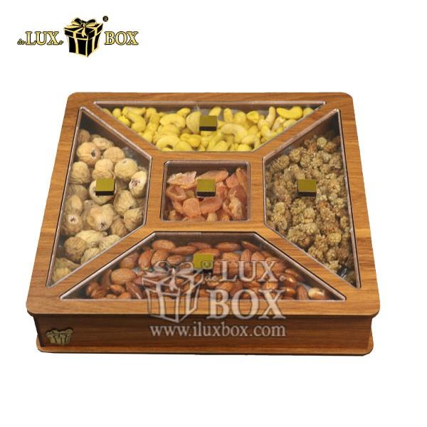 جعبه پذیرایی آجیل و خشکبار , جعبه چوبی , بسته بندی لوکس , جعبه آجیل و خشکبار , باکس چوبی , جعبه پذیرایی آجیل و خشکبار لوکس باکس ،جعبه کادو آجیل خشکبار پذیرایی لوکس باکس کد LB 26 _ 0